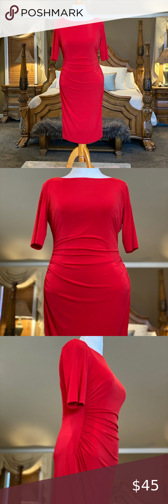 Vince Camuto Red Ruched Sheath Dress Size 14 Cut In A Fluid Column This Sexy Red Dress Is Gathered With Soft Ruching That Defines You [ 1740 x 580 Pixel ]