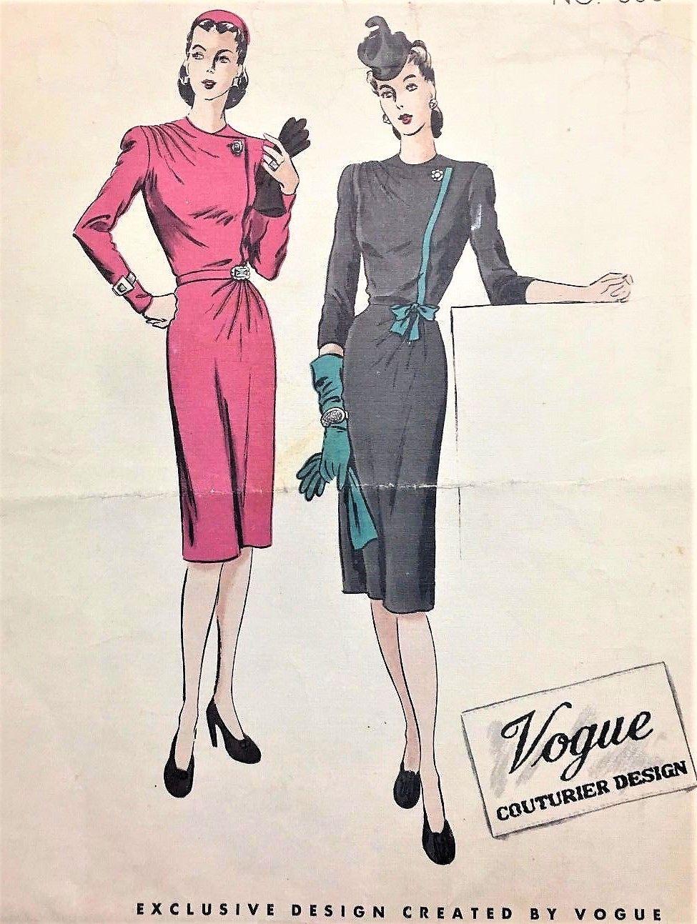 P338au22 1940s Film Noir Slim Cocktail Dress Pattern Vogue C Vogue Dress Patterns Cocktail Dress Patterns Retro Sewing Patterns [ 1293 x 975 Pixel ]