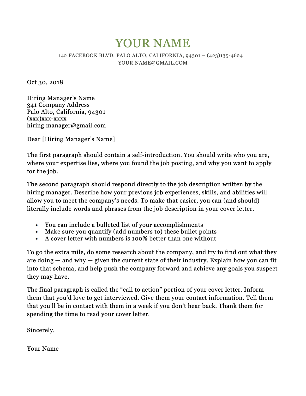 Dublin Green Cover Letter RG Cover letter template