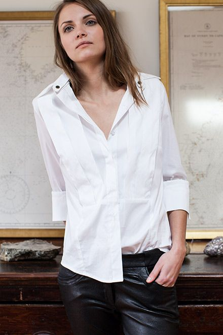 Men's Cuff Link Shirt - Crisp White | Emerson Fry. Wear a shirt like this with your navy pants!  $218
