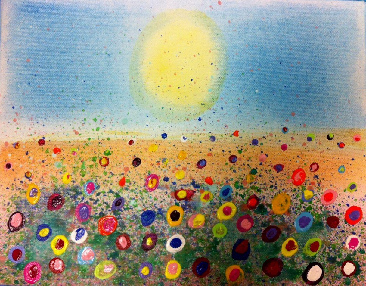 Fun Splatter Floral Paintings Kid S Art Class Art For Kids
