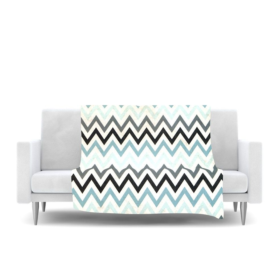 "Heidi Jennings ""Blue Chevron"" Gray Aqua Fleece Throw Blanket"