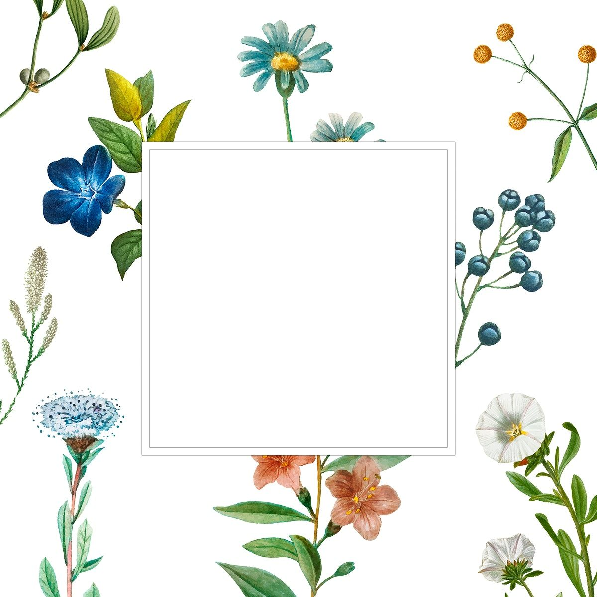 Download premium vector of Square frame on a floral ...