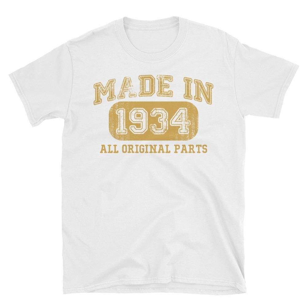Made In 1934 All Original Parts T Shirt Gift Ideas For 85 Year Old