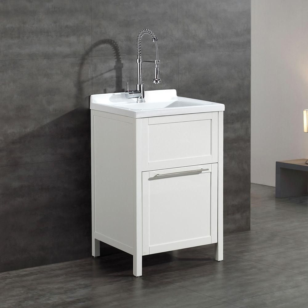 Schon Eleni All In One Kit 24 In. X 22 In. X 37.8 In. Acrylic Utility Sink  With Cabinet In White