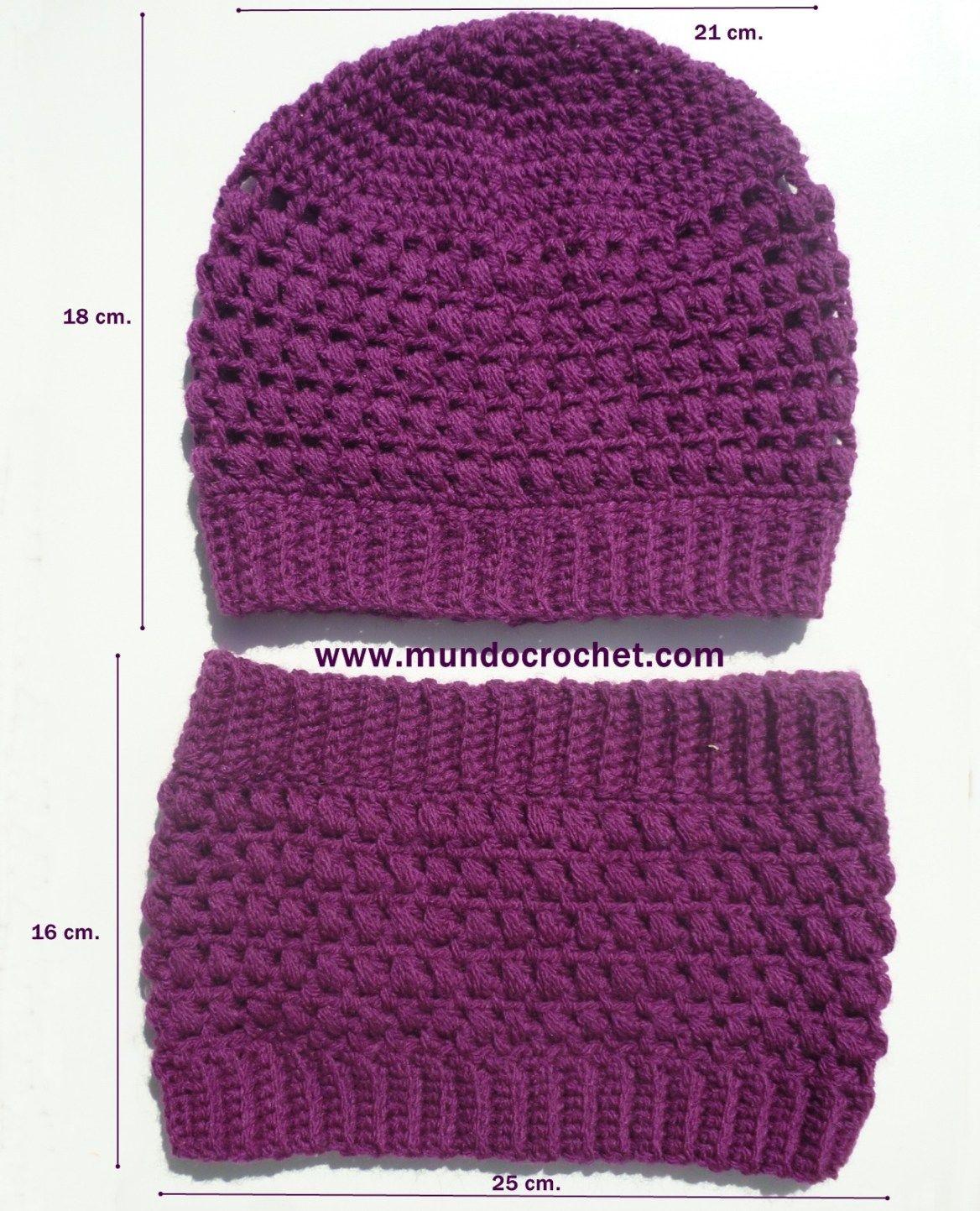 Patron gorro y cuello en punto puff a crochet o ganchillo | Crochet ...