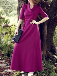 Dyed Solid Colr Swing Maxi Dress