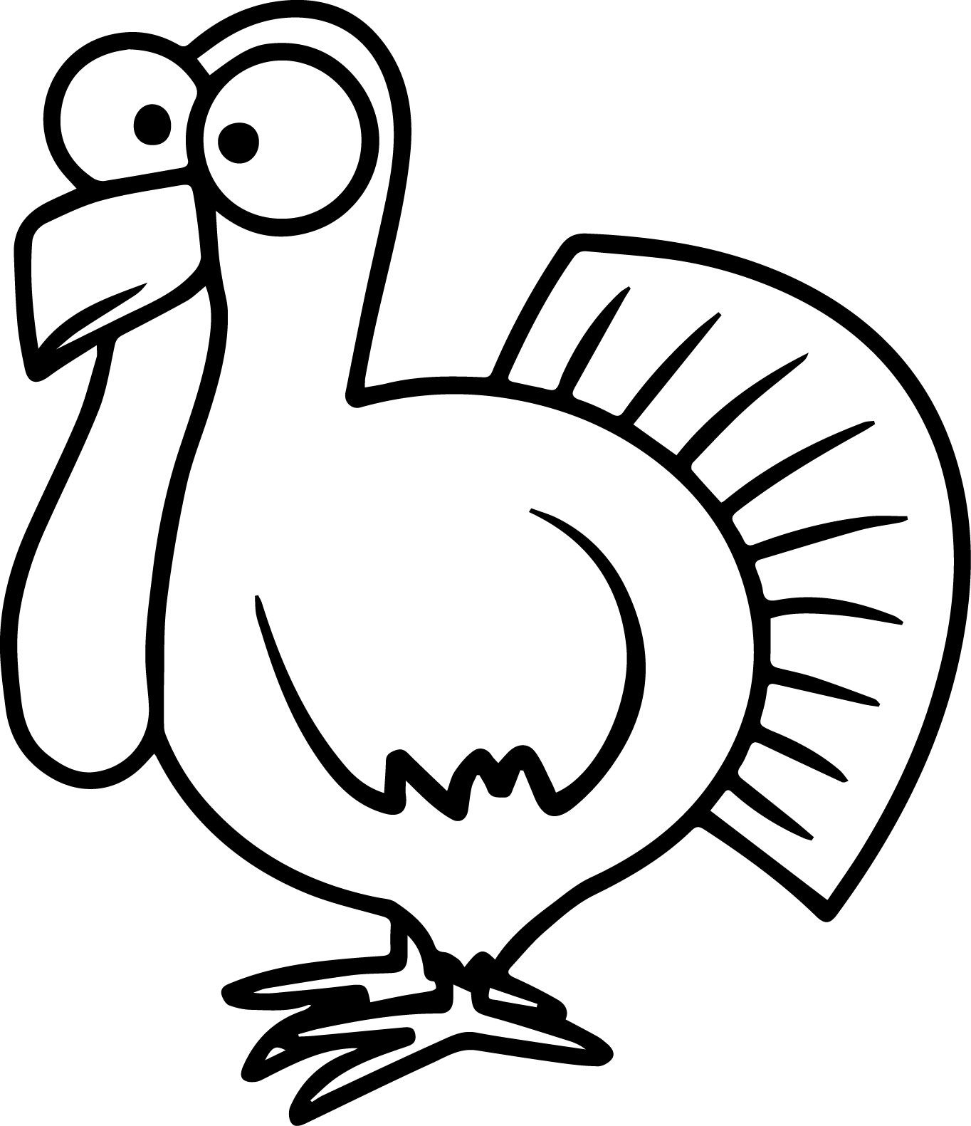 Awesome Turkey Cartoon Coloring Pages Easy Cartoon Drawings