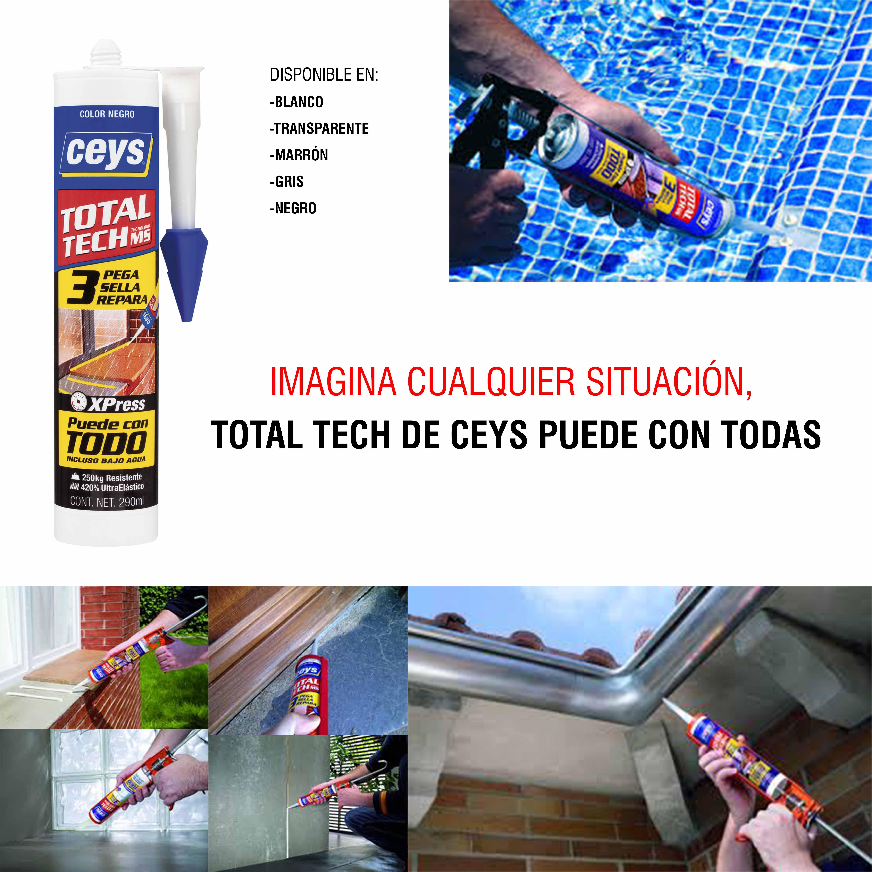 Total Tech es un producto de alta tecnología que PEGA, SELLA Y REPARA cualquier material, en interior y exterior, incluso bajo agua, con EFECTO XPRESS. Es un adhesivo sellador con un pegado inicial inmediato y un sellado impermeable y estanco al agua, al momento.  Todos los MATERIALES RESISTENCIA a tracción >250Kg/10cm2 Interior y EXTERIOR Agarre INMEDIATO Gran poder de RELLENO PINTABLE en húmedo