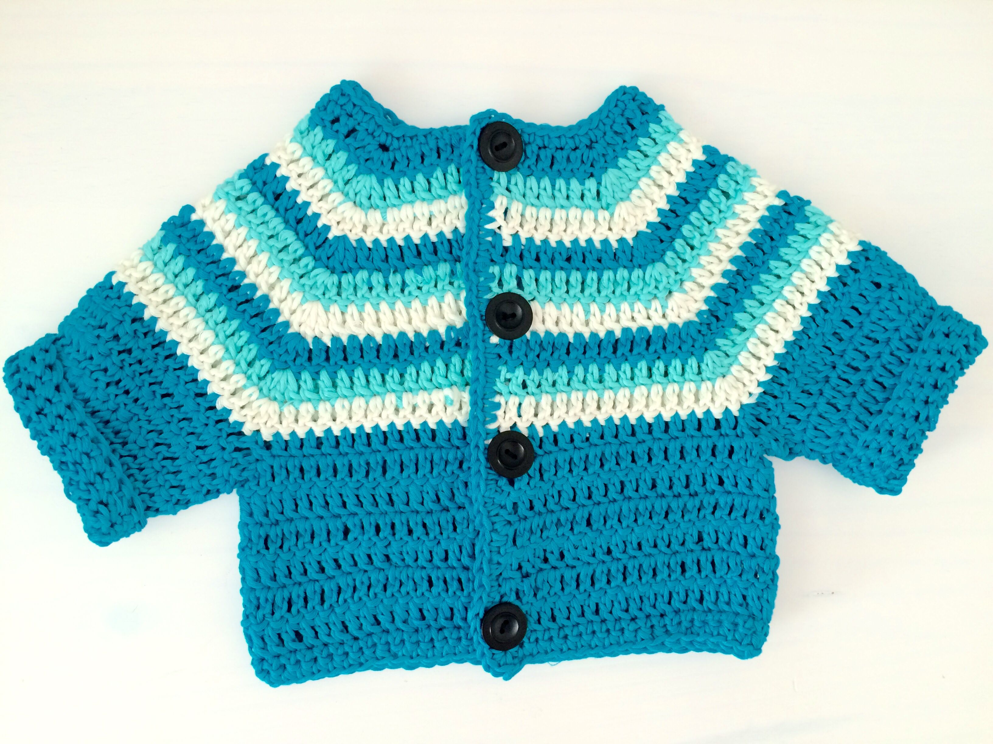 Crochet stripy baby cardigan.