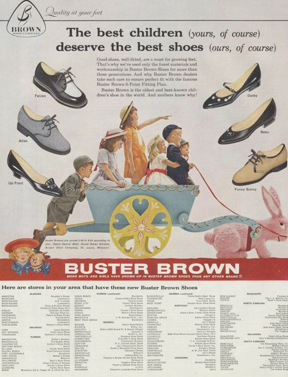 1960 Buster Brown Children S Shoes Ad Easter Bunny Vintage Advertisement Retro Fashion Print Wall Art Decor Vintage Advertisement Buster Brown Retro Ads