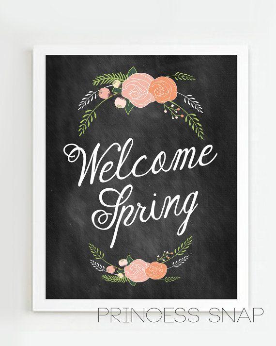 FREE printable Welcome Spring Chalkboard Style Art Printable on