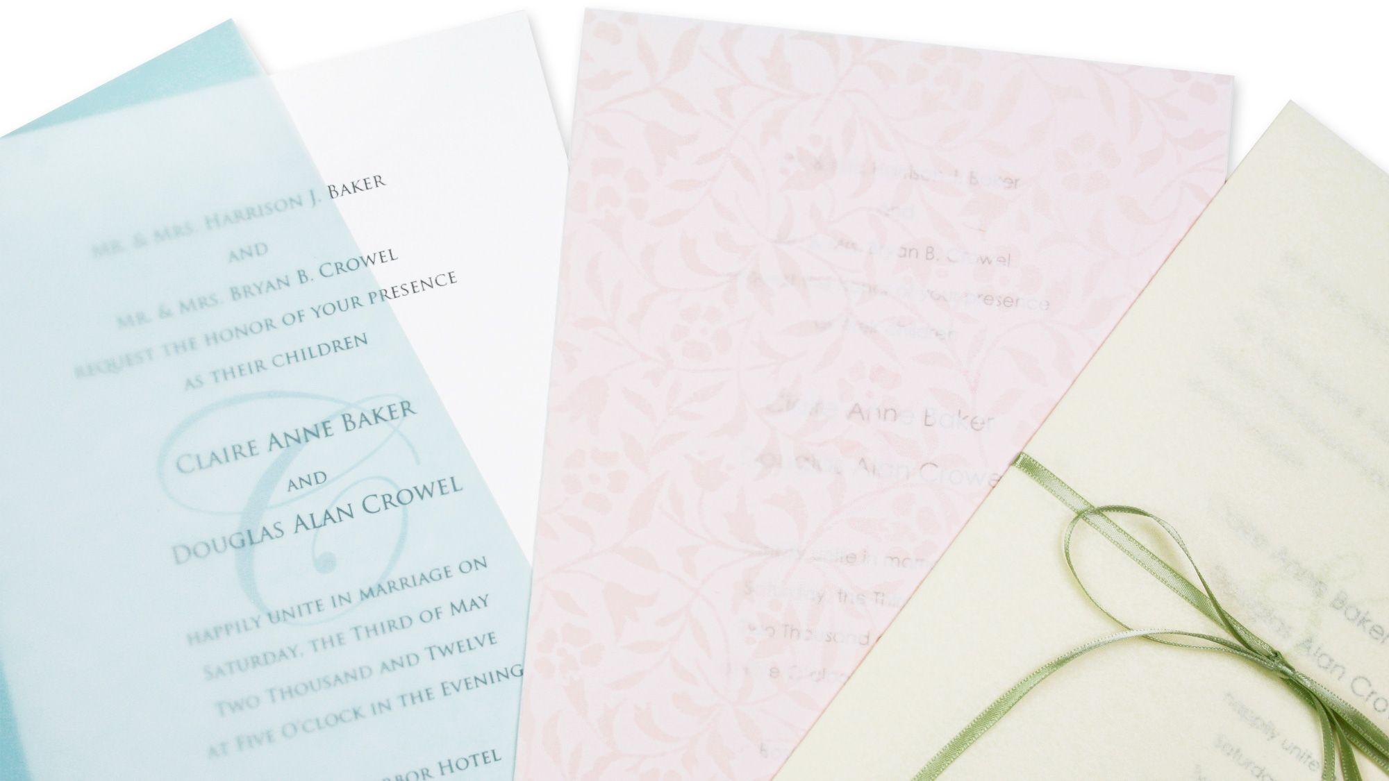 Easy DIY wedding invitation idea - wrap vellum around simple white ...