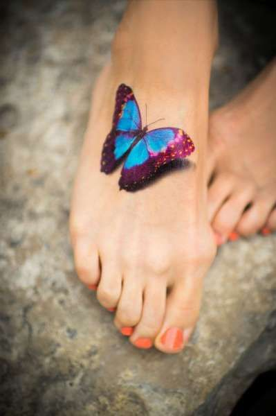 3d Butterfly Tattoos For Women Butterfly Foot Tattoo 3d Things I