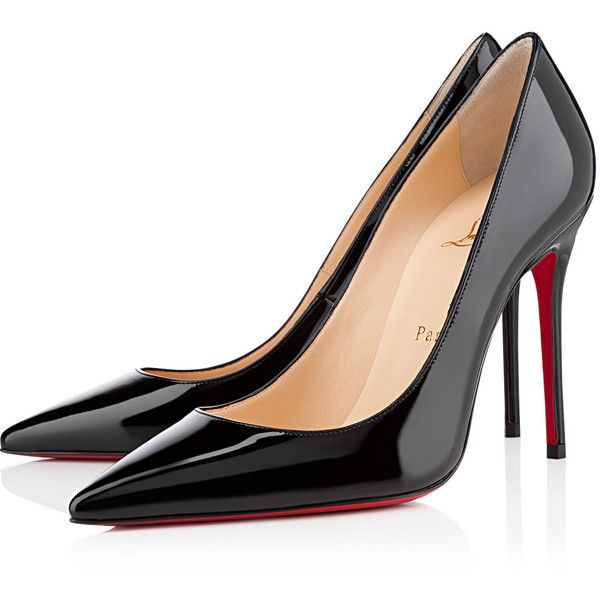 Christian Louboutin Decollete 554 (17 440 UAH) ❤ liked on Polyvore featuring shoes, pumps, heels, christian louboutin, high heels, louboutin, black, black patent leather shoes, high heel shoes and pointed toe pumps