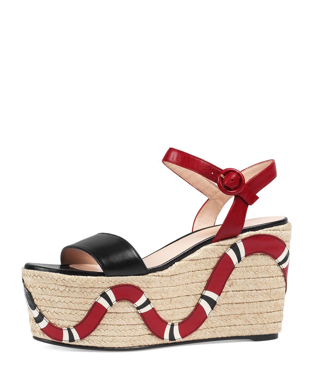 a5962e62225 Barbette Snake-Appliqué Espadrille Wedge Sandal