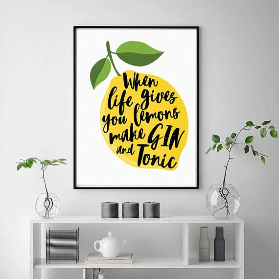 Lemon Print | Gin Print | When Life Gives You Lemons Print | Bright ...