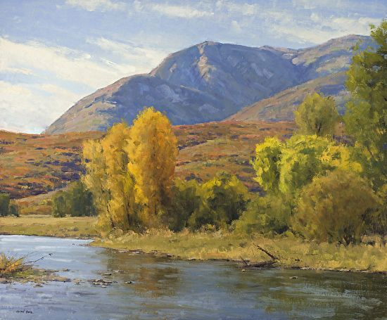 Provo River Autumn by Keith Bond Oil ~ 30 x 36 - landscape painting