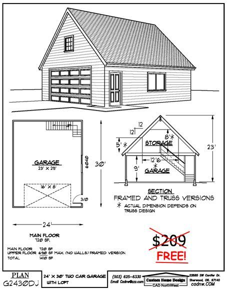 24 39 x 30 39 two story garage favorite pinterest 30th for 20 x 24 garage plans