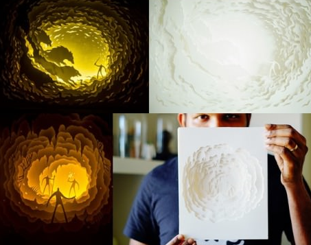 Artist creates amazing scenery using only sheets of paper and light   Vivas