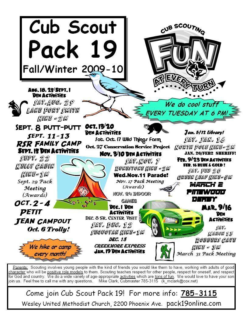 Cub Scout Pack Meeting Flyer Boy Scouts Pinterest
