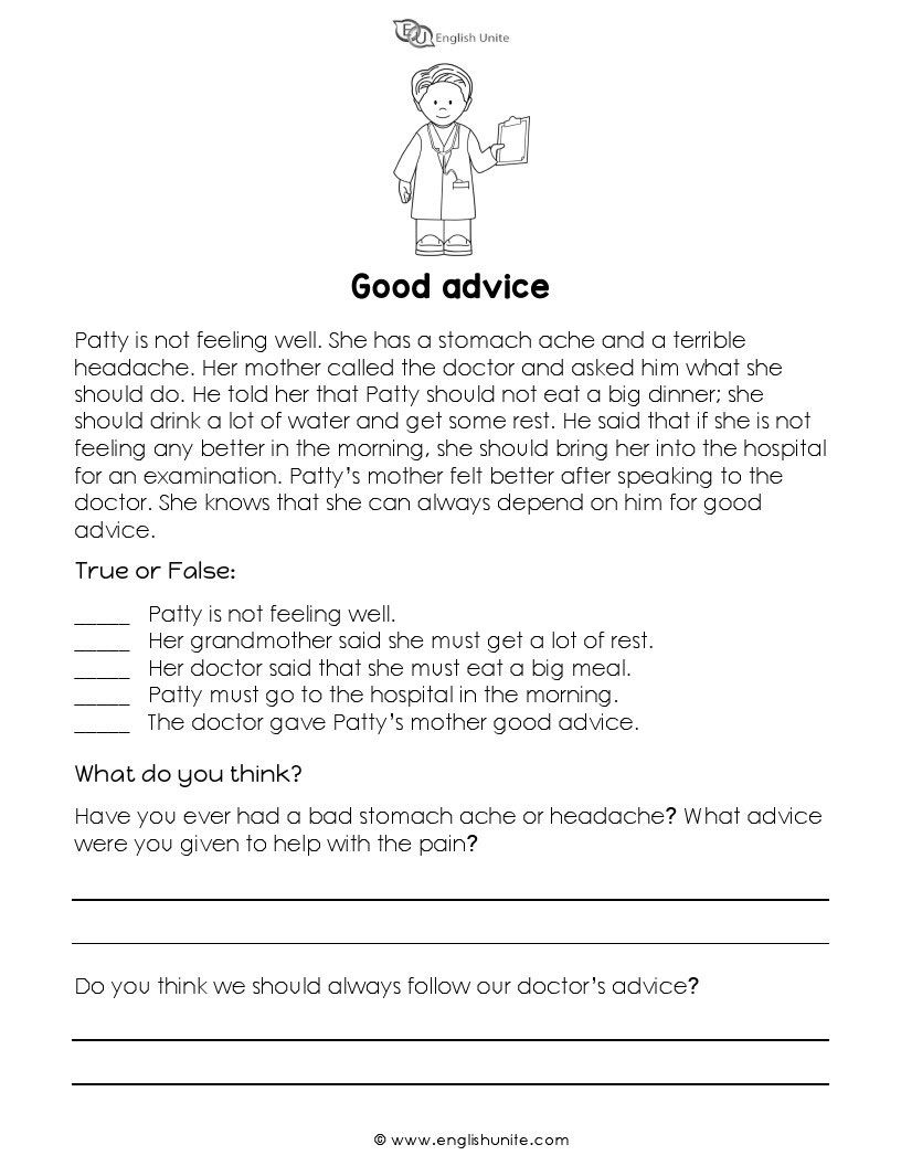 Short Story Good Advice English Unite Short Reading Passage Reading Comprehension Lessons English Short Stories [ 1056 x 816 Pixel ]