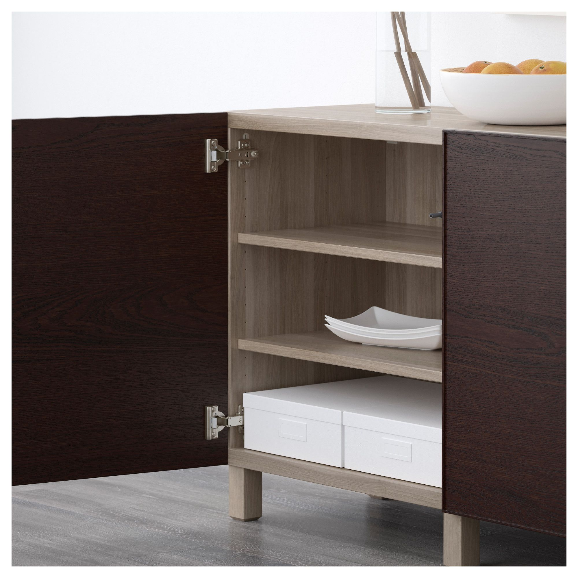 Ikea bestå storage combination with doors walnut effect light gray