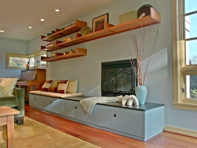 Remodeling Living Room Design With High Shelve Wood Blue Vase