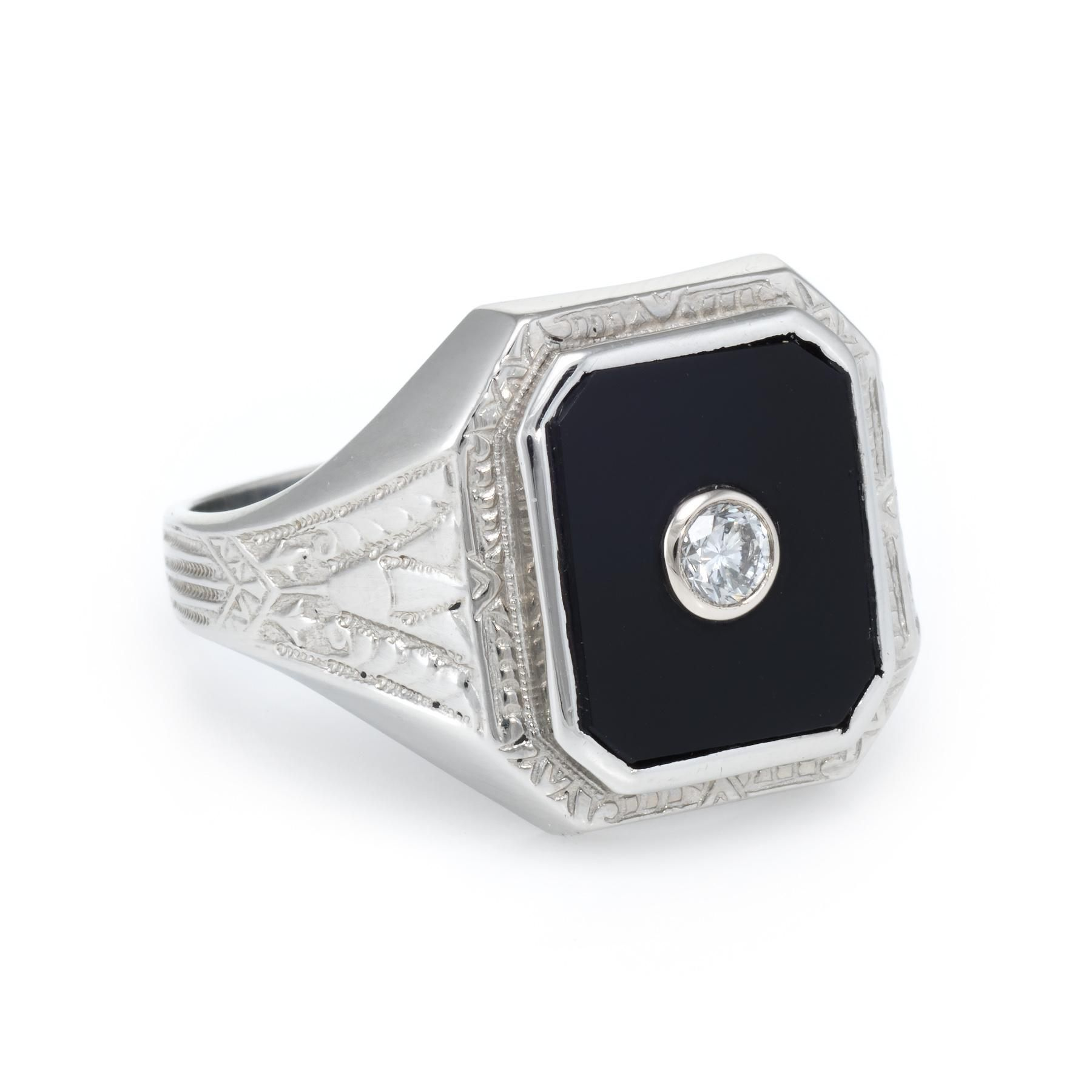 Vintage Art Deco Ostby Barton Mens Diamond Onyx Ring 10 Karat White Gold Estate Artdeco Mens Mensjewel Vintage Art Deco Vintage Art Deco Rings Art Deco Ring