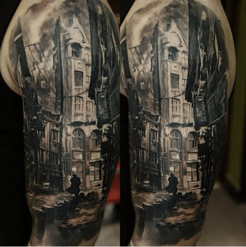 In the shadows of the night. Tattoo by Domantas Parvainis. #inked #inkedmag #tattoo #realism #building #alley #amazing