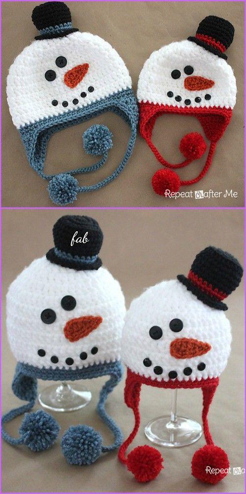 Crochet Snowman Hat Free Patterns | Gorros, Tejido y Temas navideños