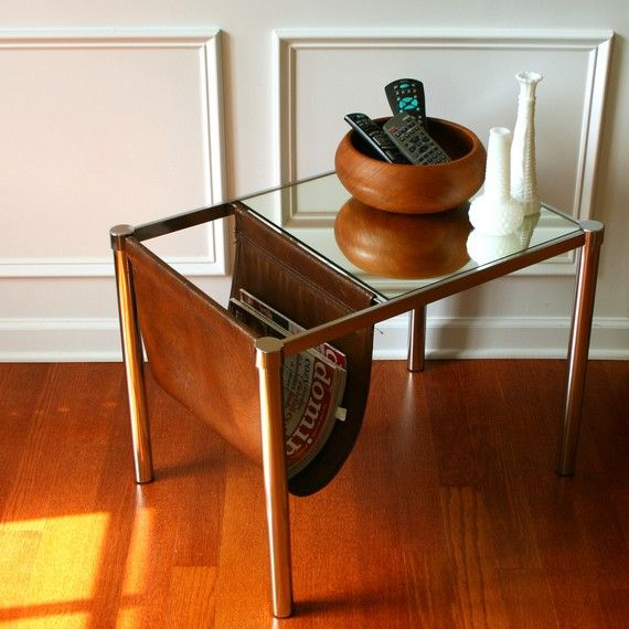 Vintage Mirrored Sling Magazine Rack End Table