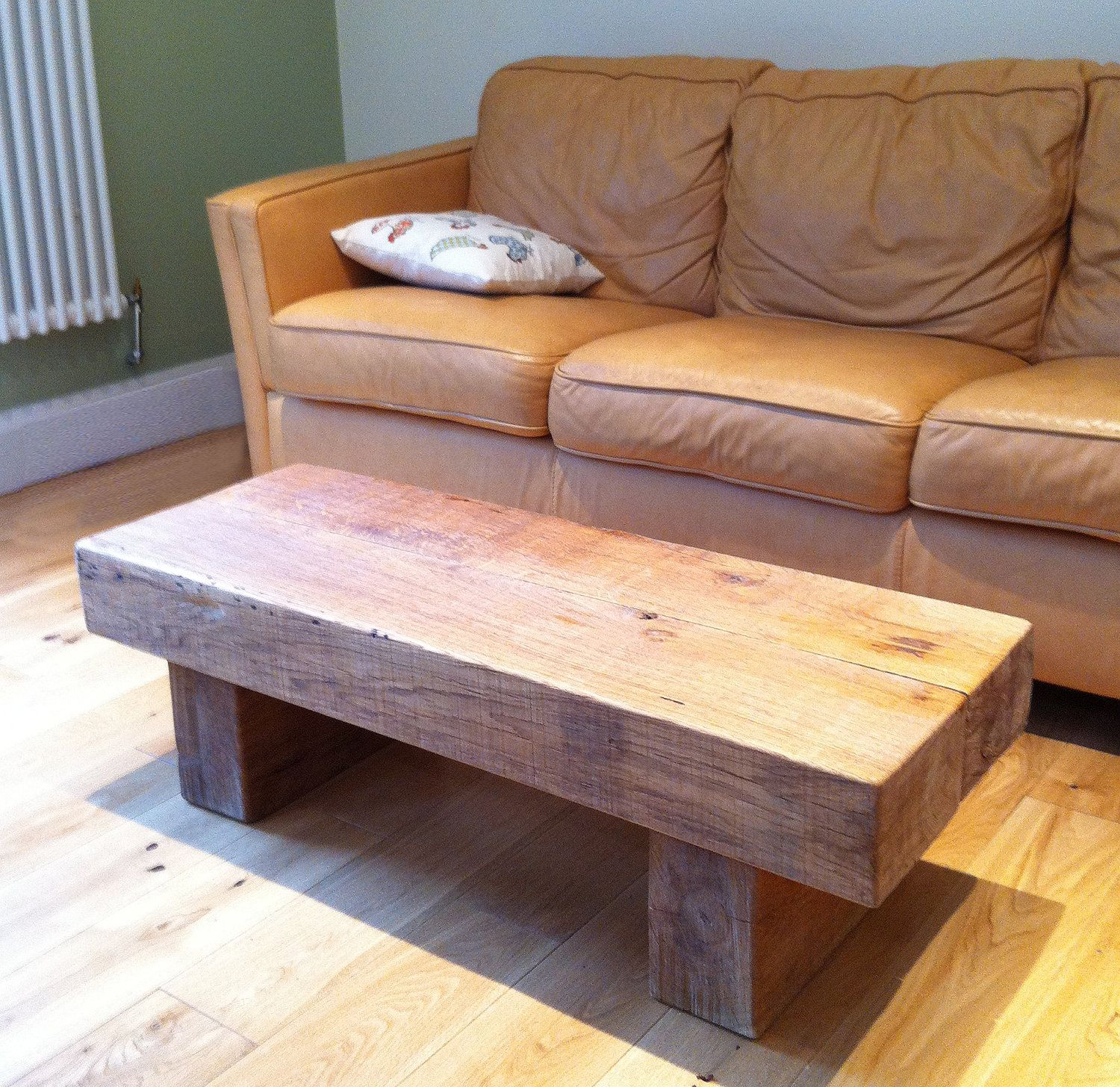 chunky oak railway sleeper coffee table. £295.00, via etsy