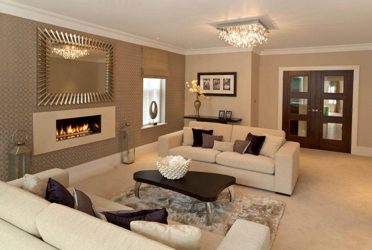 déco de luxe salon #peinture beige cheminée ambiance cosy