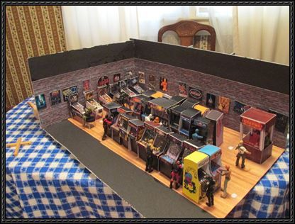 This is a Arcade Game Room diorama papercraft set created by