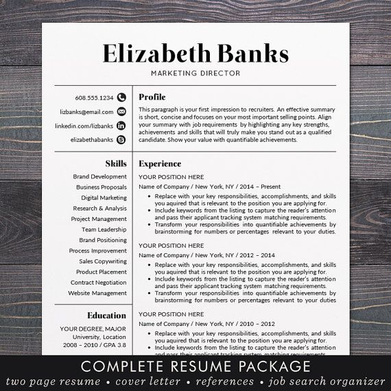 Resume Template - CV Template for Word, Mac or PC, Professional