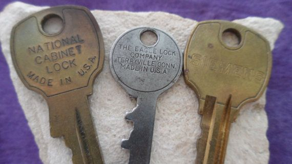 Sold Three Vintage Keys National Cabinet Lock Key By
