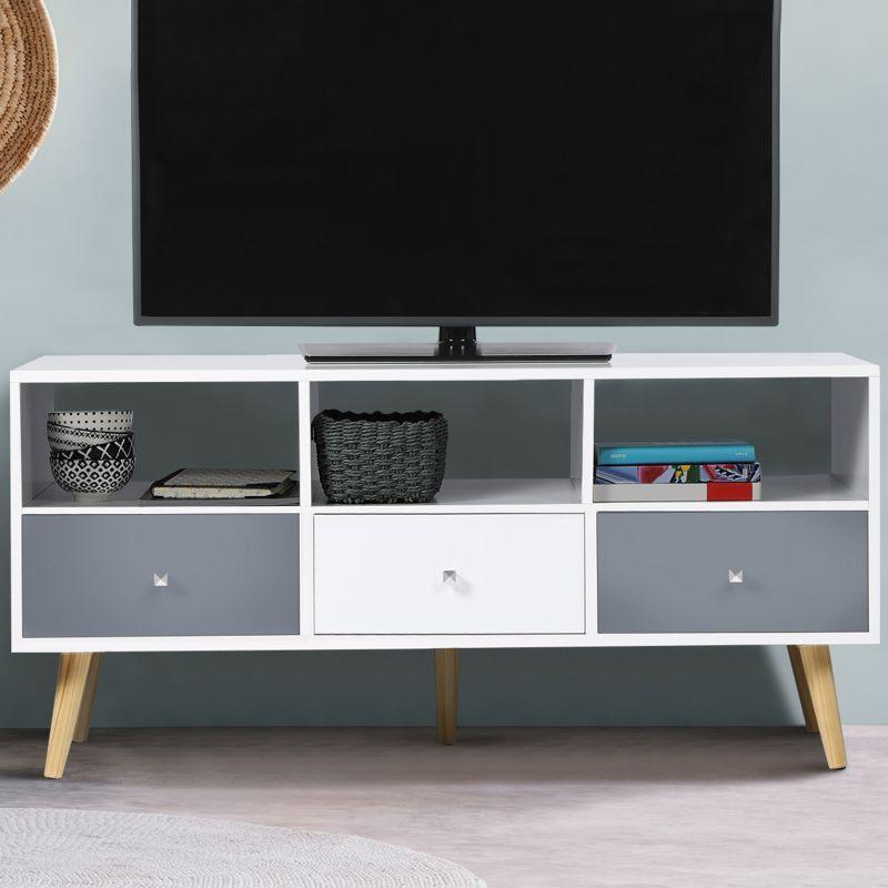 Meuble Tv Effie Scandinave 3 Tiroirs Bois Blanc Et Gris 13282 En 2020 Tiroir Bois Meuble De Television Meuble Tv