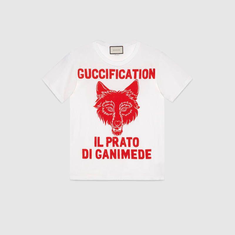 e082b914 Gucci - Il Prato di Ganimede Guccification print T-shirt | TOPS ETC ...