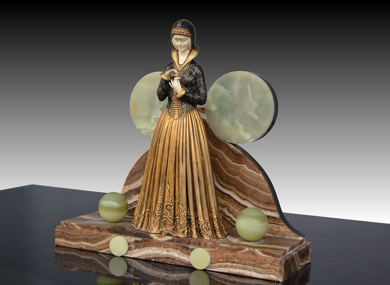 Dh Chiparus genuine sculpture 1920's Lady with flowers