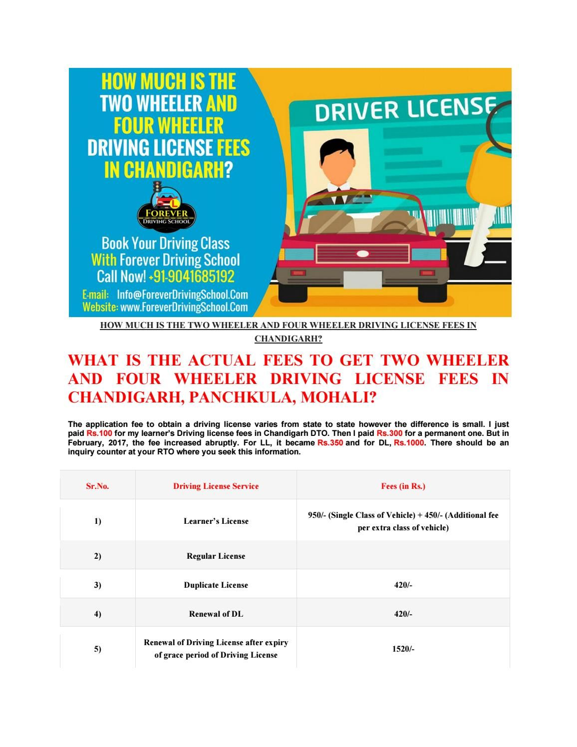 How Much Car Driving License Fees In Chandigarh Driving License