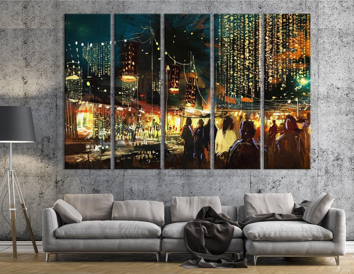 Urban Modern Wall Art   Colorful Nightlife Canvas Print ...