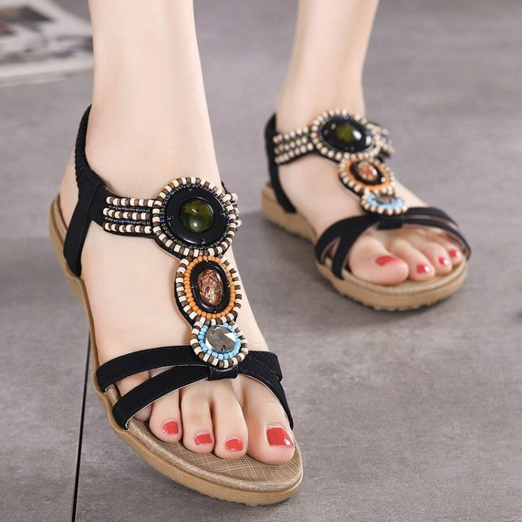2017 new arrival summer flat leather beach woman sandals