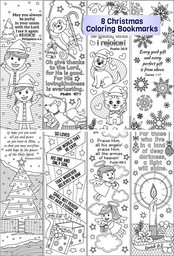 8 Christmas Coloring Bookmarks