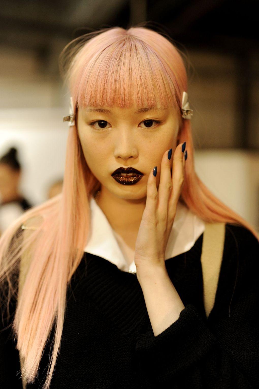 Pat McGrath gave each model at DKNY sparkling plum lips