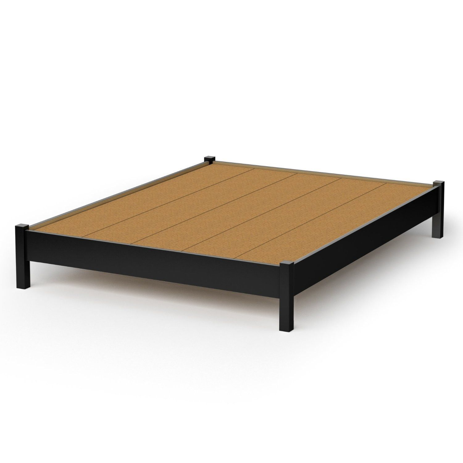 queen size platform bed in black finish  simple modern design  - queen size platform bed in black finish  simple modern design