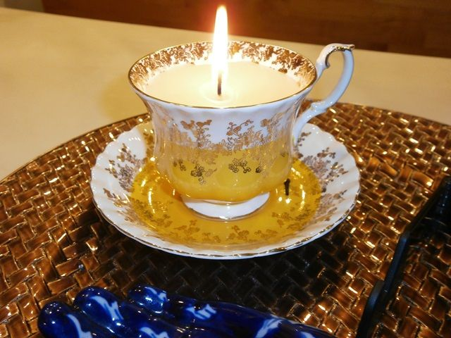 Tea Cup Candle...great way to use Grandma's tea cups and enjoy them in your home. This one was a gift from my niece Shelley Hatch. She just made an easy candle wax, aroma, and wick...easy and terrific looking ;)