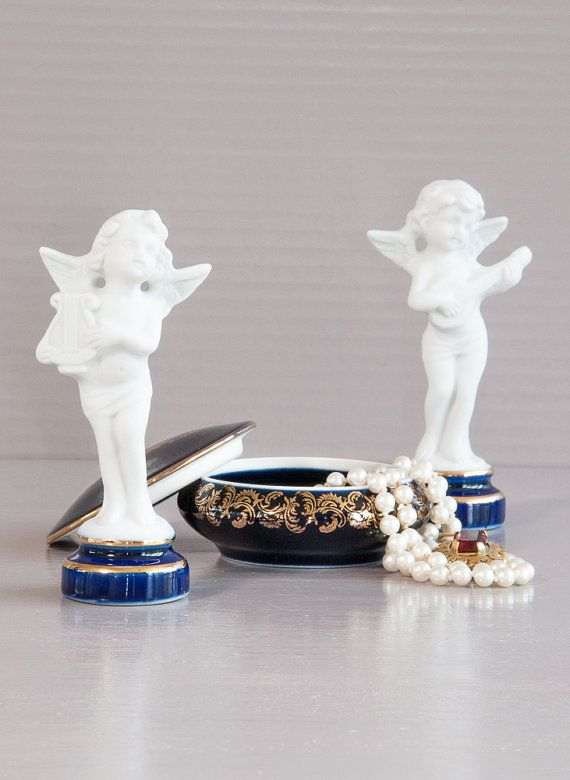 Limoges Jewelry Box | Cobalt Blue porcelain Box | Romantic Jewelry ...