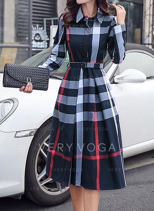 Plaid Long Sleeves A-line Knee Length Elegant Dresses ...