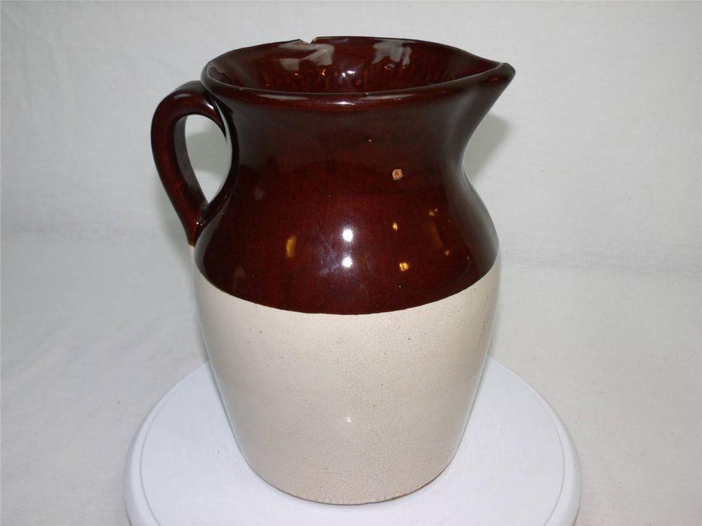 Antique Vintage Brown Amp Tan 10 Quot Stoneware Pottery Pitcher